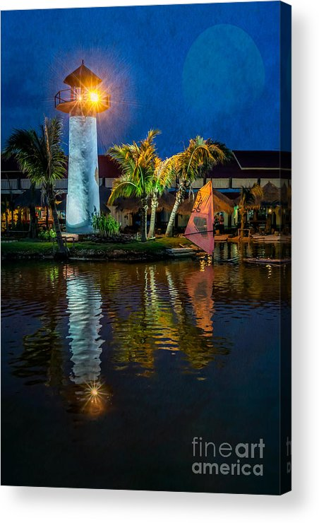Hdr Acrylic Print featuring the photograph Lighthouse Reflection by Adrian Evans
