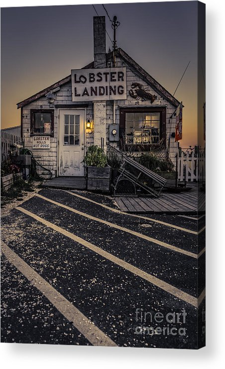 Clinton Acrylic Print featuring the photograph Lobster Landing Shack Restaurant At Sunset by Edward Fielding