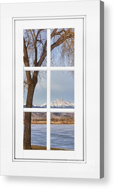 Windows Acrylic Print featuring the photograph Longs Peak Winter View Through A White Window Frame by James BO Insogna