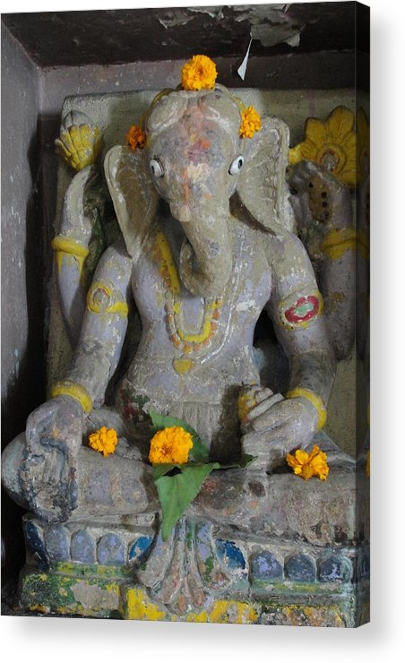 Lord Ganesha At Shiv Temple Acrylic Print featuring the sculpture Lord Ganesha by Makarand Kapare