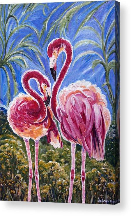 Flamingo Acrylic Print featuring the painting Love Flamingos by Yelena Rubin