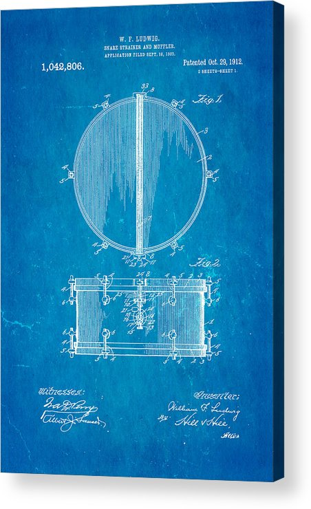 Famous Acrylic Print featuring the photograph Ludwig Snare Drum Patent Art 1912 Blueprint by Ian Monk