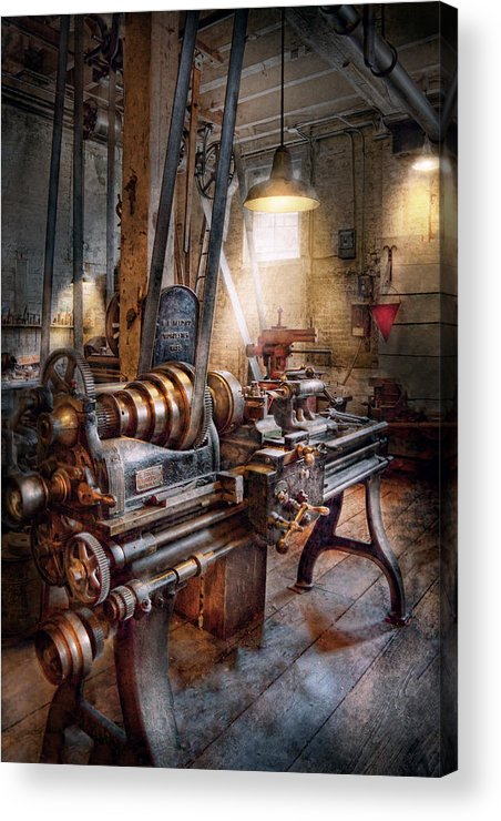 Machinists Acrylic Print featuring the photograph Machinist - Fire Department Lathe by Mike Savad