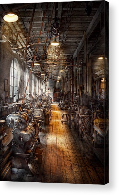 Machinists Acrylic Print featuring the photograph Machinist - Welcome To The Workshop by Mike Savad