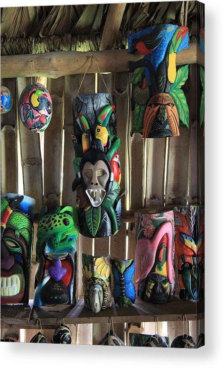 Acrylic Print featuring the photograph Maleku Balsa Tribal Masks by Stephen Dennstedt
