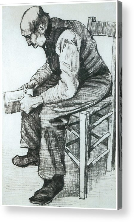 Man Reading The Bible Acrylic Print featuring the drawing Man Reading The Bible by Vincent van Gogh