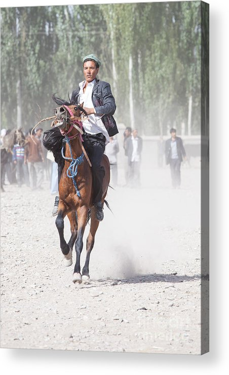 China Acrylic Print featuring the photograph Man Riding A Horse At Kashgar Sunday Market China by Matteo Colombo
