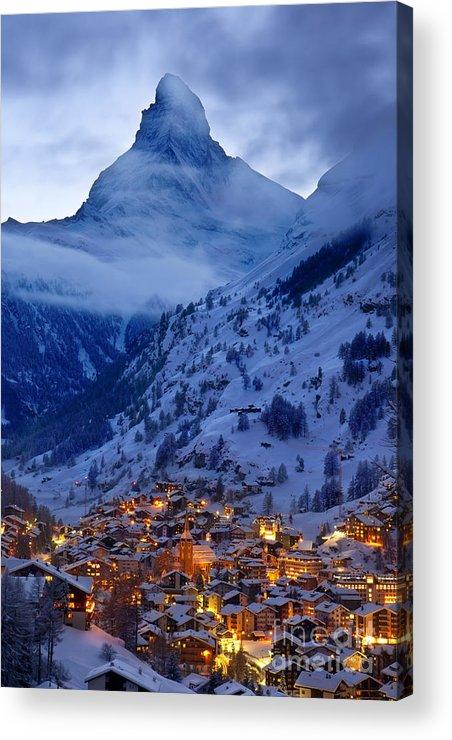 Dusk Acrylic Print featuring the photograph Matterhorn At Twilight by Brian Jannsen