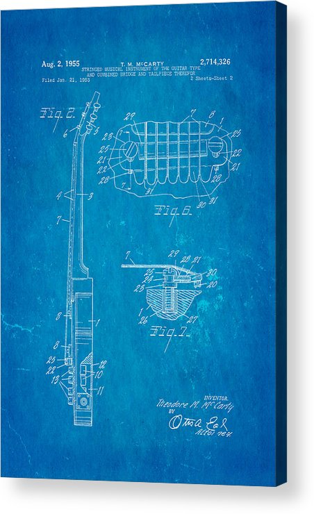 Famous Acrylic Print featuring the photograph Mccarty Gibson Les Paul Guitar 2 Patent Art 1955 Blueprint by Ian Monk