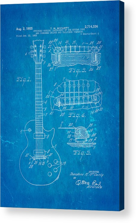 Famous Acrylic Print featuring the photograph Mccarty Gibson Les Paul Guitar Patent Art 1955 Blueprint by Ian Monk