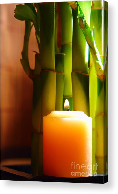 Bamboo Acrylic Print featuring the photograph Meditation Candle And Bamboo by Olivier Le Queinec