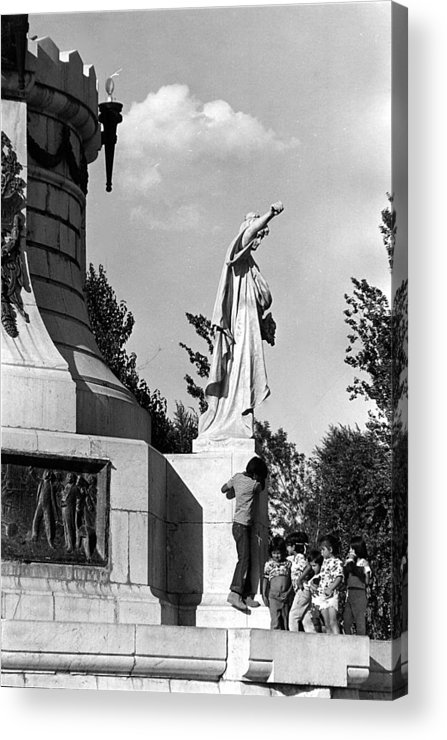 Memorial Statue Children Playing Juarez Chihuahua Mexico 1977 Black And White Acrylic Print featuring the photograph Memorial Statue Children Playing Juarez Chihuahua Mexico 1977 Black And White by David Lee Guss