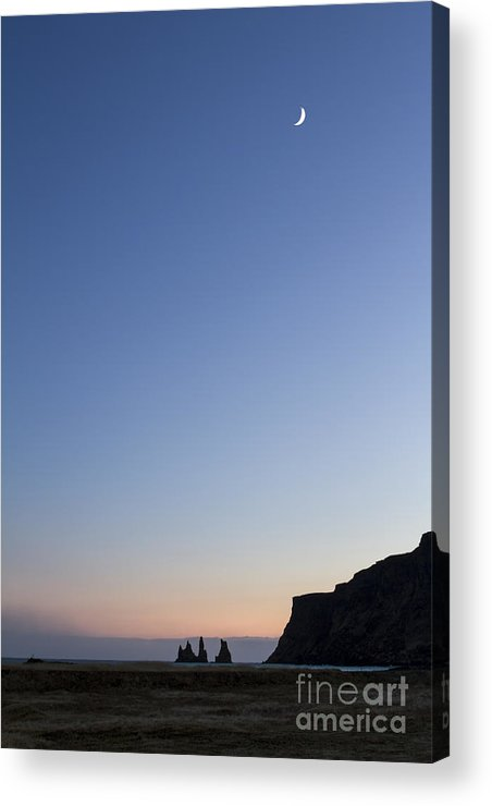 Vik Acrylic Print featuring the photograph Moon Over Vik by Evelina Kremsdorf