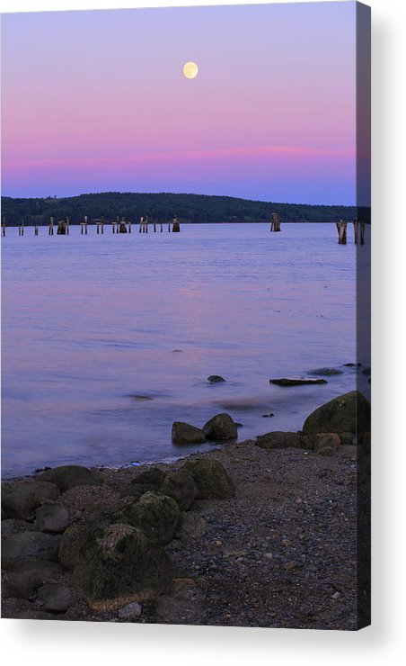Moon Acrylic Print featuring the photograph Moon Rise At The Beach by Barbara West