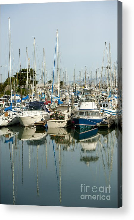 Moss Landing Harbor Acrylic Print featuring the photograph Moss Landing Boat Harbor by Artist and Photographer Laura Wrede