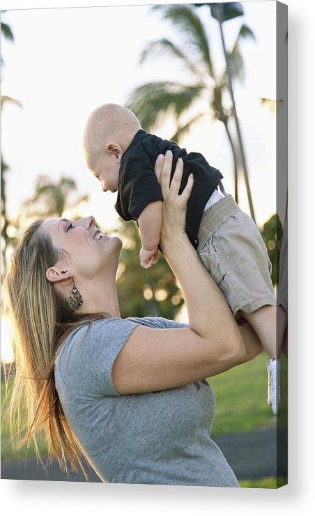 Ala Moana Acrylic Print featuring the photograph Mother And Baby by Brandon Tabiolo