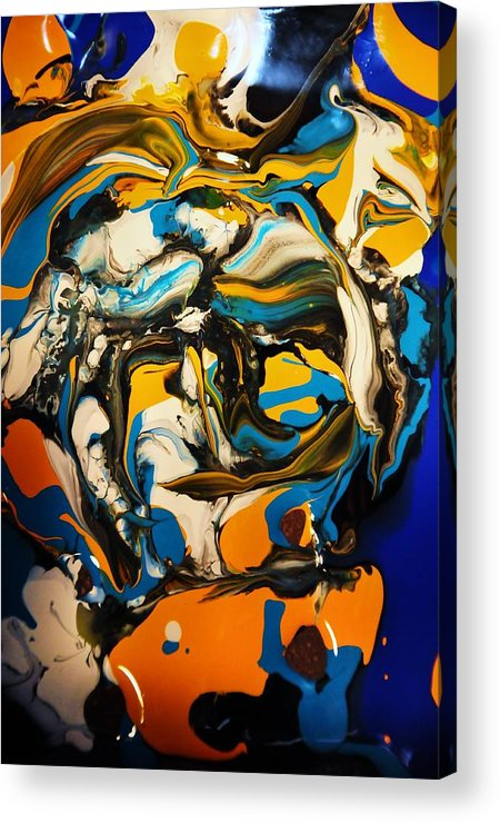 Abstract Acrylic Print featuring the painting Mr. Rainbow With A Fried Egg Sunny Side Up by Kicking Bear Productions