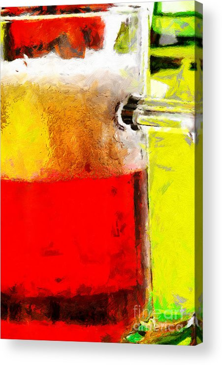 Beer Acrylic Print featuring the painting Mug Of Beer Painting by Magomed Magomedagaev
