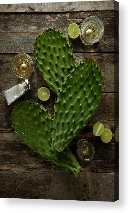 Wood Acrylic Print featuring the photograph Nopales And Tequila by Lew Robertson