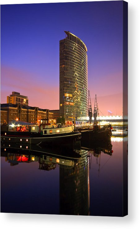 United Kingdom Acrylic Print featuring the photograph North Dock In Canary Wharf. by Milan Gonda