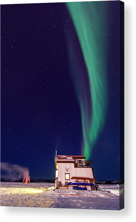 Yellowknife Acrylic Print featuring the photograph Northern Lights And House Boat On Great Slave Lake In Yellowknife by Vincent Demers