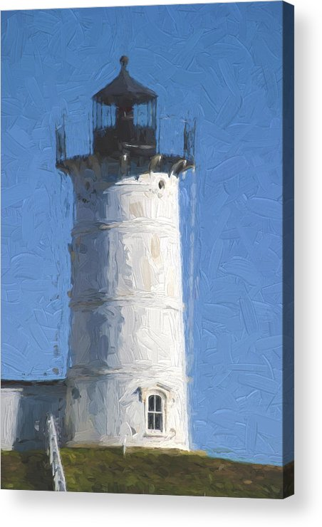 Light Acrylic Print featuring the photograph Nubble Lighthouse Maine Painterly Effect by Carol Leigh