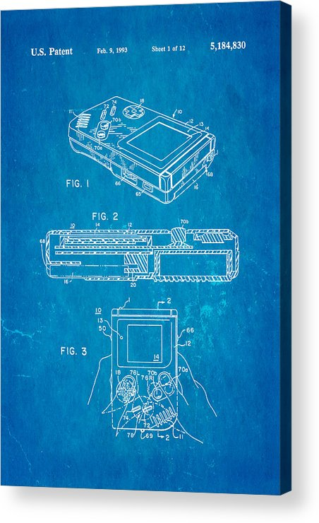 Famous Acrylic Print featuring the photograph Okada Nintendo Gameboy 2 Patent Art 1993 Blueprint by Ian Monk