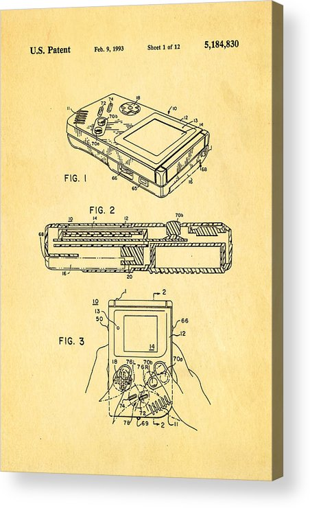 Famous Acrylic Print featuring the photograph Okada Nintendo Gameboy 2 Patent Art 1993 by Ian Monk