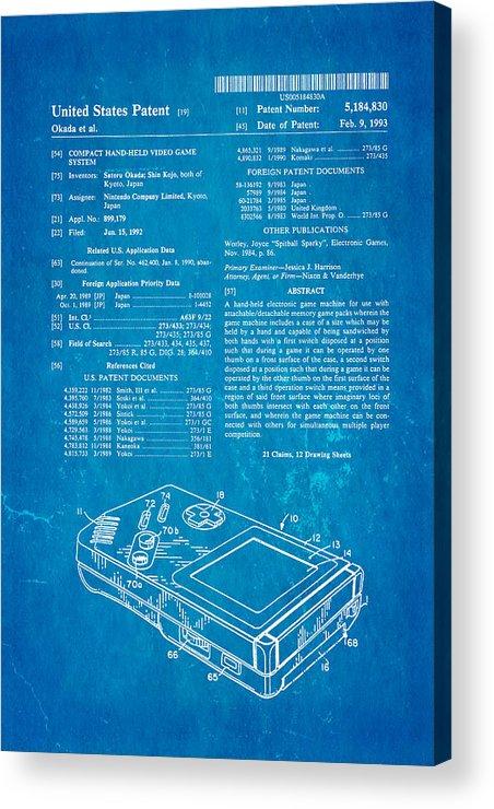 Famous Acrylic Print featuring the photograph Okada Nintendo Gameboy Patent Art 1993 Blueprint by Ian Monk