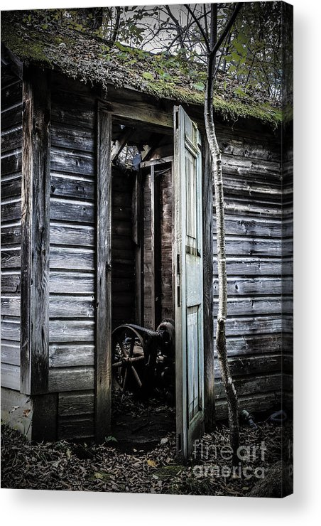 Sinister Acrylic Print featuring the photograph Old Abandoned Well House With Door Ajar by Edward Fielding