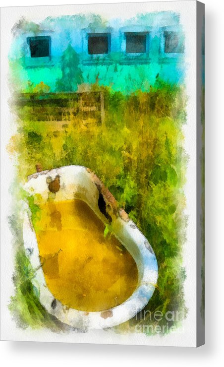 Abandoned Acrylic Print featuring the digital art Old Bathtub Near Painted Barn by Amy Cicconi