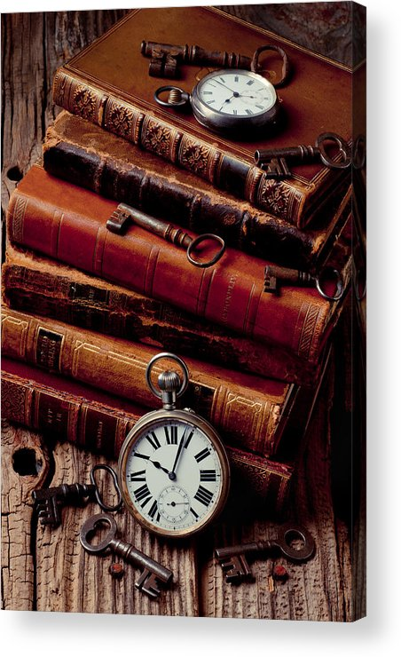 Key Acrylic Print featuring the photograph Old Books And Watches by Garry Gay