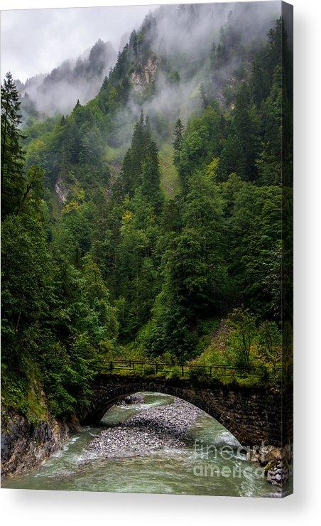 Bridge Acrylic Print featuring the photograph Old Bridge - Austrian Alps - Austria by Gary Whitton