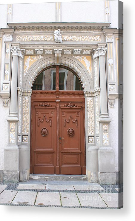 Door Acrylic Print featuring the photograph Old Entrance Door With Lionheads by Christiane Schulze Art And Photography