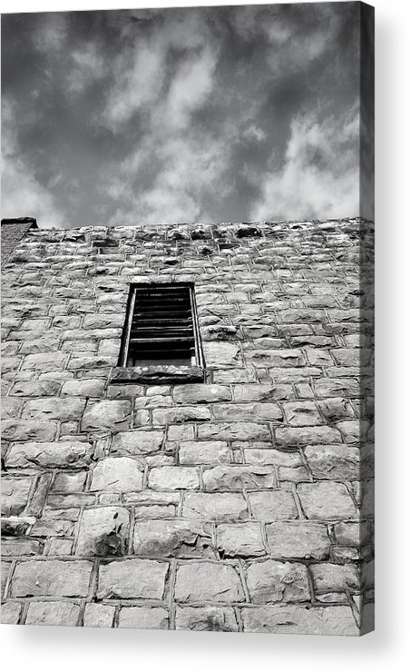 Stone Acrylic Print featuring the photograph Old Stone Wall Black And White Photograph by Ann Powell