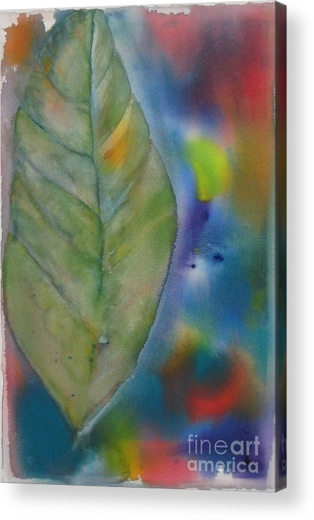 Leaf Acrylic Print featuring the painting One Big Leaf by Laura Hamill