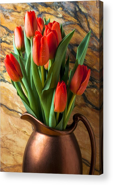 Orange Tulips Acrylic Print featuring the photograph Orange Tulips In Copper Pitcher by Garry Gay