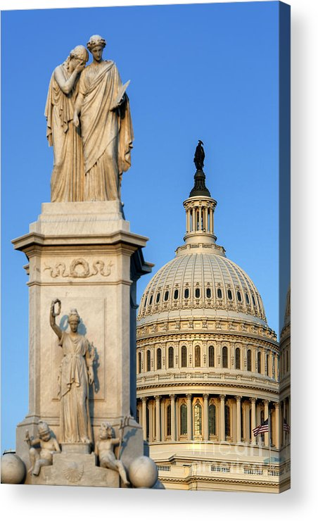 America Acrylic Print featuring the photograph Peace Monument And Capitol by John Greim