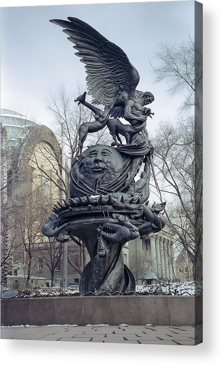 new York Acrylic Print featuring the photograph Peace Sculpture In New York by Daniel Hagerman