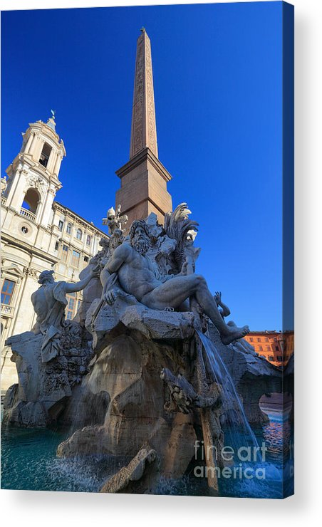 Europe Acrylic Print featuring the photograph Piazza Navona Fountain by Inge Johnsson