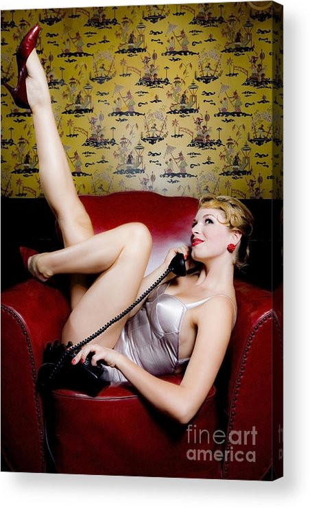 Bathing Suit Acrylic Print featuring the photograph Pinup Girl With Phone by Diane Diederich