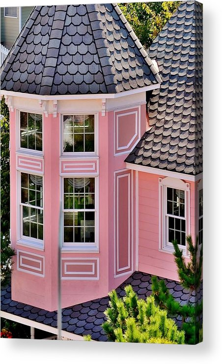 Hotel Acrylic Print featuring the photograph Beautiful Pink Turret - Boardwalk Plaza Hotel Annex - Rehoboth Beach Delaware by Kim Bemis