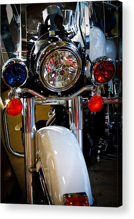 Classic Cycle Acrylic Print featuring the photograph Police Harley by David Patterson
