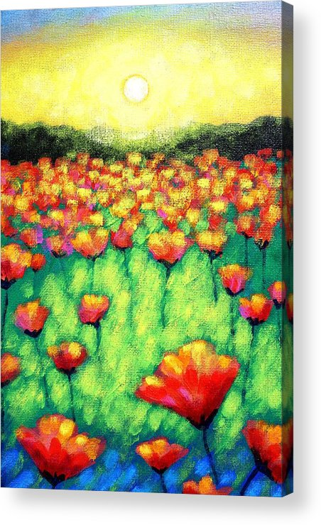 Acrylic Acrylic Print featuring the painting Poppies At Twilight  Cropped Version by John Nolan