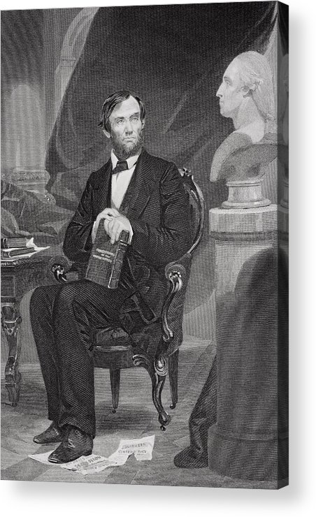 Male Acrylic Print featuring the painting Portrait Of Abraham Lincoln by Alonzo Chappel