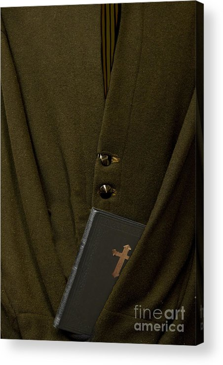 Mens; Old; Grunge; Bible; Binding; Side View; Cross; Metallic; Symbol; Religion; Book; Words; Symbolism; Close Up; Still Life; Object; Read; Prayer; Religious; Priest; Man; Dark; Darkness; Faith; God; Jesus; Clergy; Buttons; Jacket; Christian; Catholic; Acrylic Print featuring the photograph Priest by Margie Hurwich
