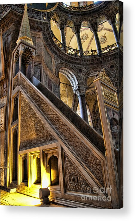 Turkey Acrylic Print featuring the photograph Pulpit In The Aya Sofia Museum In Istanbul by David Smith