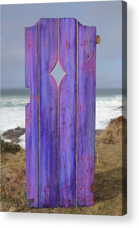 Painted Garden Gate Acrylic Print featuring the painting Purple Gateway To The Sea by Asha Carolyn Young