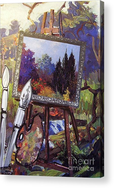 Easel Acrylic Print featuring the painting Put Color In Your Life by Eloise Schneider Mote