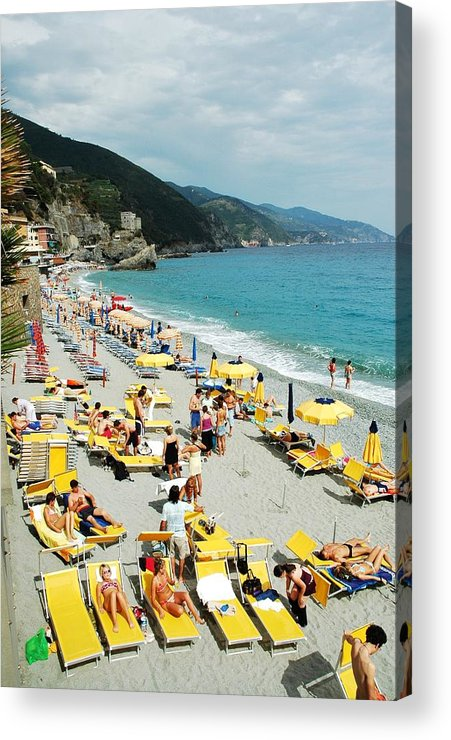 Italy Acrylic Print featuring the photograph Rapallo Beach by Allen Beatty